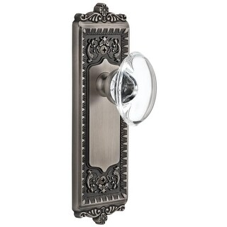 Grandeur WINPRO_SD_NA  Windsor Solid Brass Rose Single Dummy Door Knob with Provence Crystal Knob