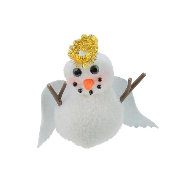 "5"" Plush White Angel Snowman with Gold Halo Decorative Christmas Ornament"