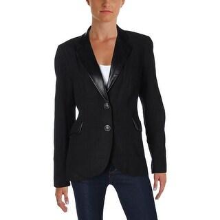 Foxcroft Womens Two-Button Blazer Wool Faux Leather Trim