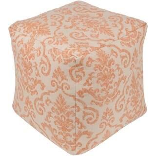 "18"" Orange and Beige Floral Decorative Square Outdoor Patio Pouf Ottoman"