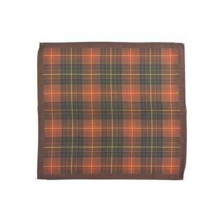 Altea Men's Silk Orange Olive Tartan Print Pocket Square - S