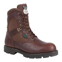 "Georgia Boot Men's G108 8"" Homeland Waterproof Work Boot Brown Full Grain Leather/Cordura"