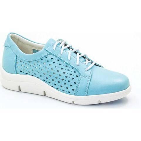 Dromedaris Women's Vivian Lace Up Sneaker Aqua Leather