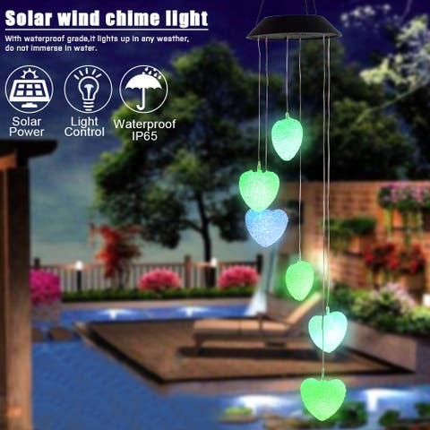 2V40maH Solar Intelligent Light Control Love Style Wind Chime Corridor