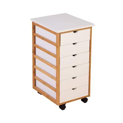 Solid Bamboo Frame 6 Drawer Storage Cart