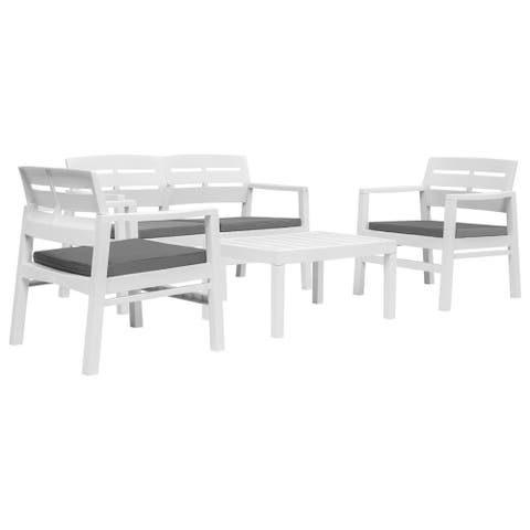 vidaXL 4 Piece Outdoor Lounge Set Plastic Garden Dining Set