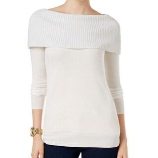 Michael Kors NEW White Ecru Women's Size XS Off Shoulder Ribbed Sweater