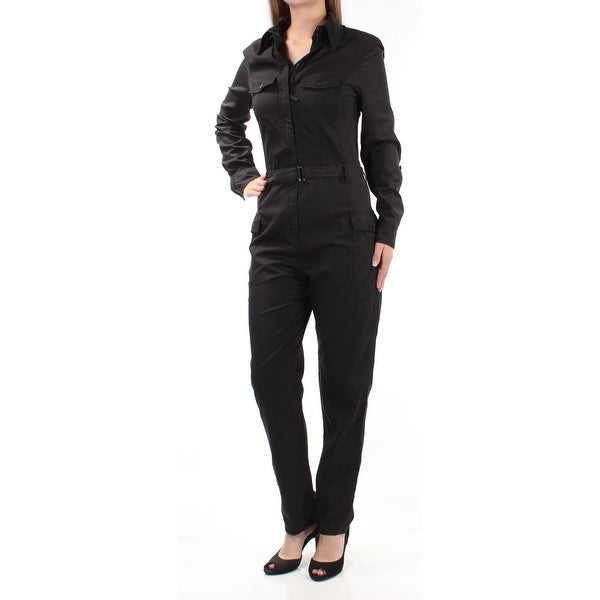 b000b3f99ed Shop MAX STUDIO Womens Black Collared Button Up Jumpsuit Size  XS - On Sale  - Free Shipping On Orders Over  45 - Overstock - 22424814