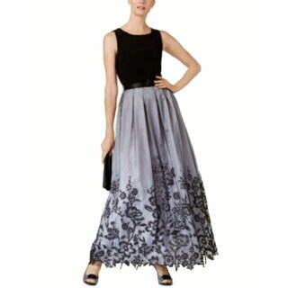 Jessica Howard Belted Pleated Floral Border Gown, Black/Silver, 14