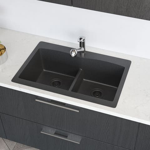 R3-2007 Topmount Low Divide Granite Quartz Kitchen Sink with Two Grids and Matching Colored Strainer and Flange
