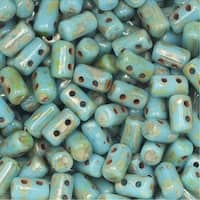 Czech Glass Matubo, Cylindrical 2-Hole Rulla Beads 3x5mm, 22 Gram Tube, Turquoise Blue / Picasso