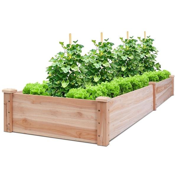 Shop Costway Wooden Vegetable Raised Garden Bed Patio Backyard Grow