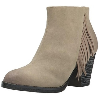 BC Footwear Womens Alliance Ankle Boots Faux Suede Fringe