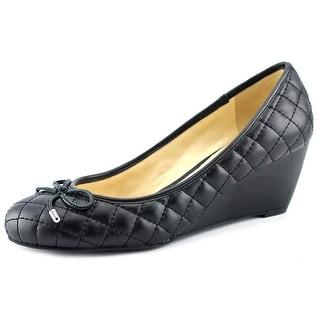 BCBGeneration Truce Women Open Toe Leather Black Wedge Heel