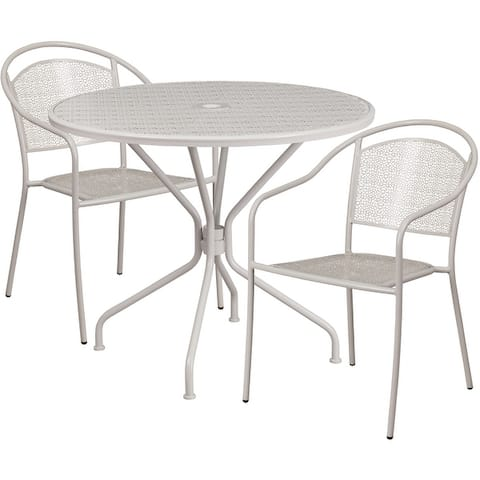 """35.25"""" Round Lt Gray Indoor-Outdoor Steel Patio Table Set w/ 2 Round Back Chairs"""