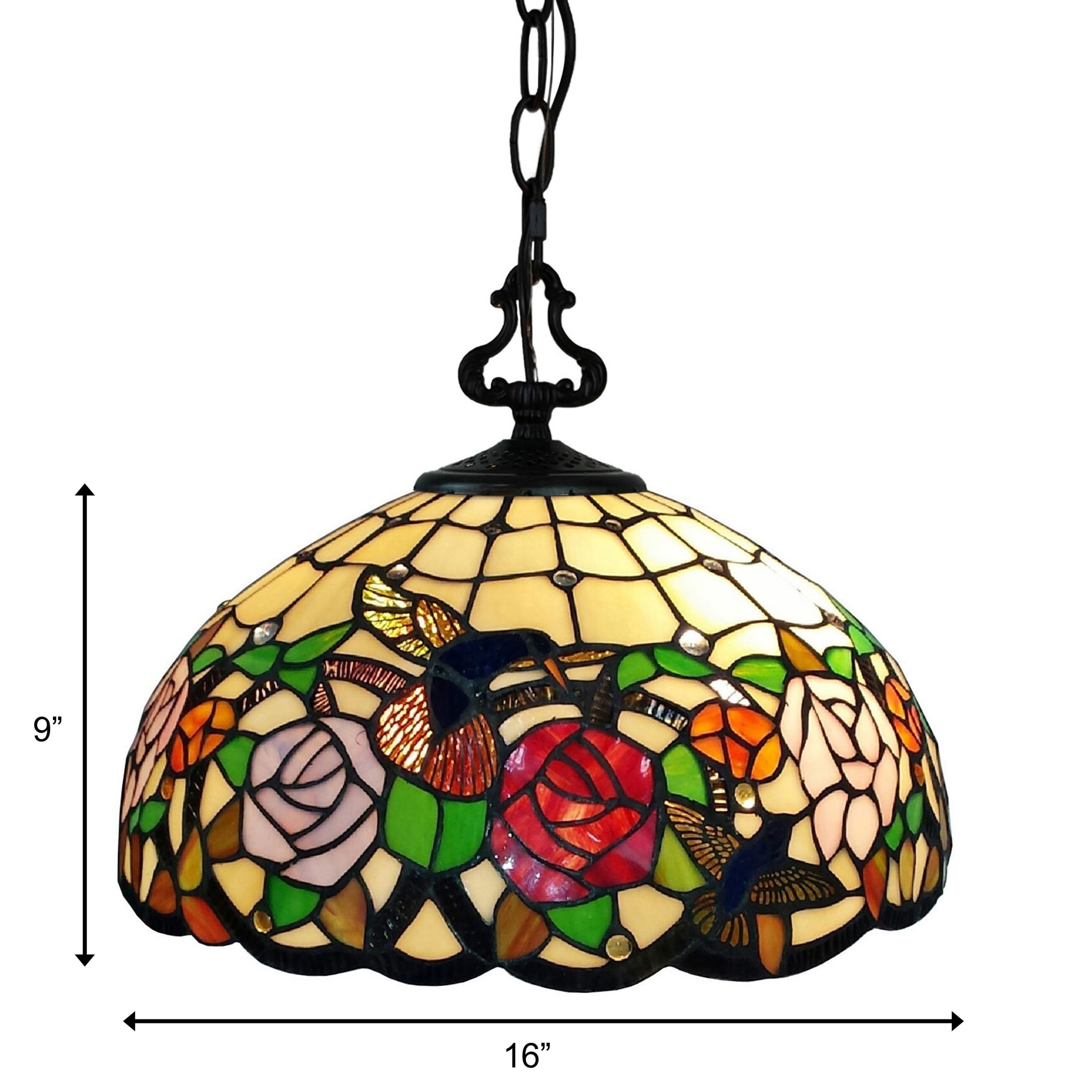Picture of: Shop Black Friday Deals On Tiffany Style Hanging Pendant Lamp 16 Wide Stained Glass Shade Game Room Ceiling Fixture Am019hl16b Amora Lighting Overstock 28480170