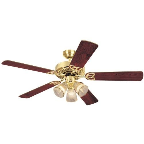 "Westinghouse 7804365 Vintage 52"" 5 Blade Hanging Indoor Ceiling Fan with Reversible Motor, Blades, Light Kit, and Down Rod"