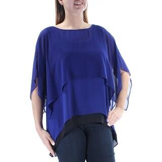 Womens Purple Kimono Sleeve Jewel Neck Casual Hi-Lo Top Size 12