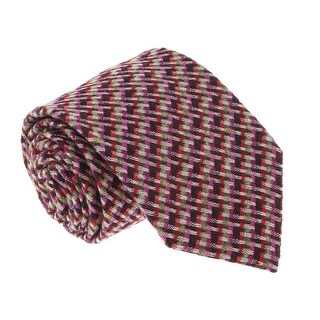 Missoni U5089 Fuschia/Brown Basketweave 100% Silk Tie - 60-3