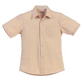 Gioberti Little Boys Khaki Solid Color Button Down Short Sleeved Shirt
