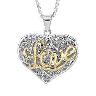 Script 'Love' Filigree Heart Pendant in Sterling Silver & 10K Gold - Two-tone