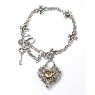 Metal filigree heart charm bracelet