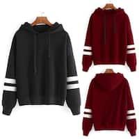 Women's Long Sleeve Hoodie Hooded Sweatshirt Striped Pullover Soft Top Coat