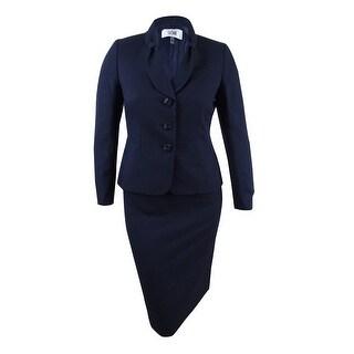 Le Suit Women's Plus Size Jacquard Three-Button Skirt Suit (14W, Navy) - Navy - 14W