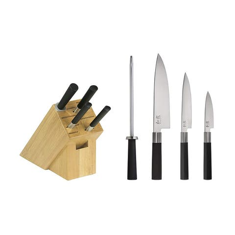 Kai WBS0500 Wasabi 5-Piece Knife Block Set, Black