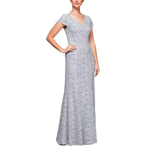 Alex Evenings Womens Petites Formal Dress Cap Sleeve Lace