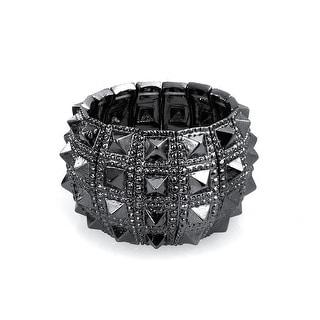 Bling Jewelry Wide Punk Jewelry Stretch Spike Bracelet Alloy - Black