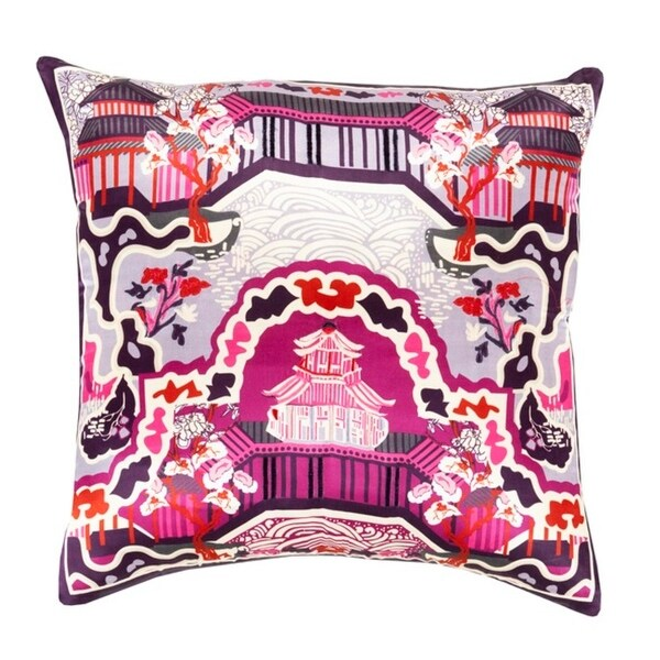 "22"" Dream Castle Mulberry Pink and Eggplant Purple Decorative Square Throw Pillow - Down Filler"