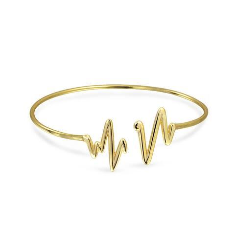 Zig Zag Heartbeat Bangle Cuff Bracelet Gold Plated Sterling Silver