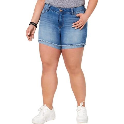 Celebrity Pink Womens Plus Denim Shorts Frayed Hem Frayed