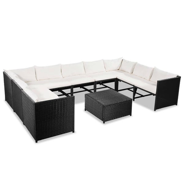 "vidaXL 10 Piece Garden Lounge Set with Cushions Poly Rattan Black - 23.6"" x 23.6"" x 23.6"""