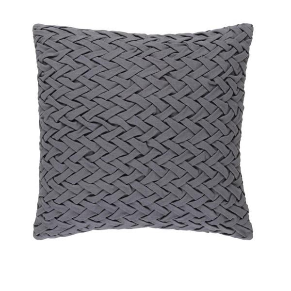 "22"" Gunmetal Gray Woven Decorative Square Throw Pillow"