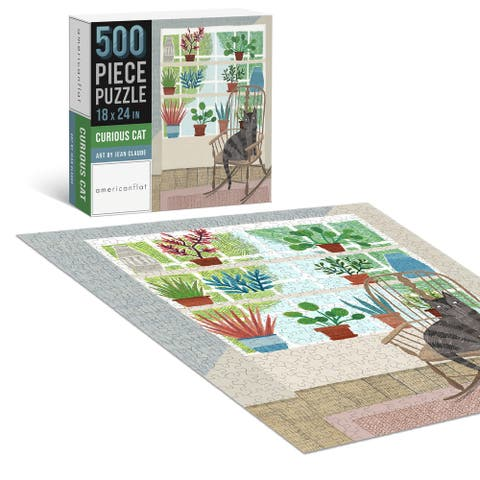"""Americanflat 500 Piece Jigsaw Puzzle 18""""x24"""" - Curious Cat by Jean Claude - 18x24"""