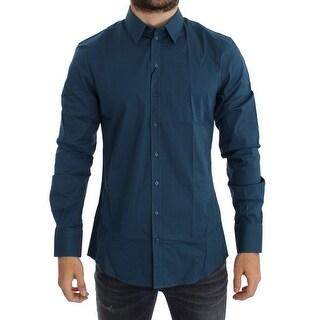 Dolce & Gabbana Dolce & Gabbana Blue Cotton Stretch SICILIA Dress Shirt - 41