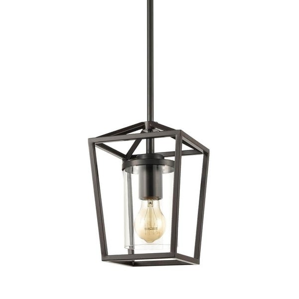 Pinerolo Industrial Black Pendant Lighting Vintage Cage Hanging Light with Clear Glass Cylinder Shade. Opens flyout.