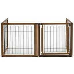 Patton Convertible 4 Panel Wood And Mesh Pet Gate Free