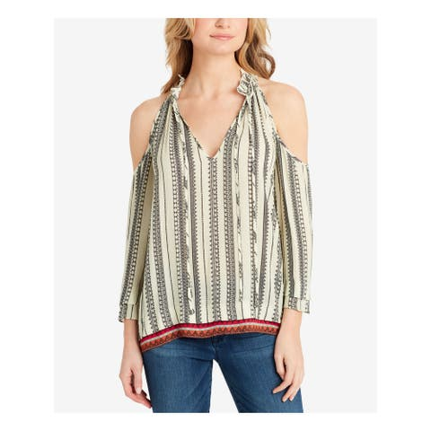 JESSICA SIMPSON Womens Ivory Printed Long Sleeve Blouse Top Size S