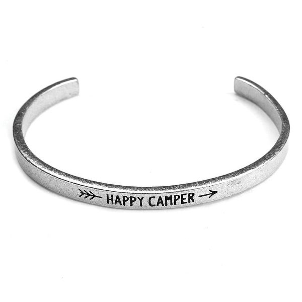 Women's Note To Self Inspirational Lead-Free Pewter Cuff Bracelet - Happy Camper
