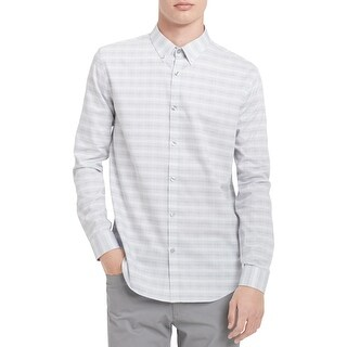 Calvin Klein Mens Dobby Button-Down Shirt Glen Plaid Pinstripe - XXL