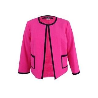 Nine West Women's Plus Size Framed Crepe Cardigan Jacket - candy/black