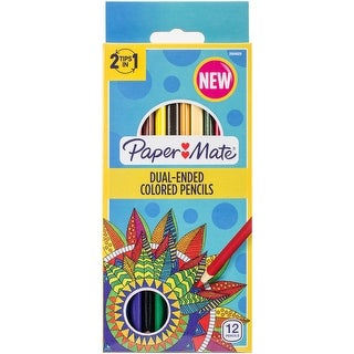 Paper Mate Double-Ended Colored Pencils 12/Pkg-Triangle Brights