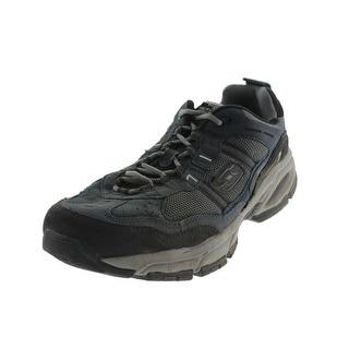 sketchers mens slippers. skechers mens vigor 2.0 trait athletic shoes suede memory foam - 10.5 extra wide (e+ sketchers slippers