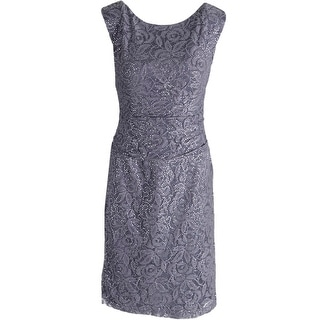 Nine West Womens Lace Sequined Cocktail Dress