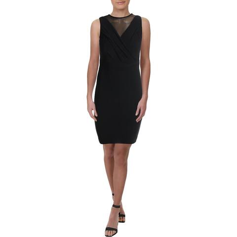 Lauren Ralph Lauren Womens Petites Party Dress Faux-Wrap A-Line - Black