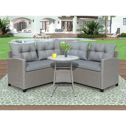4 Piece Resin Wicker Patio Furniture Set with Round Table , Gray cushions