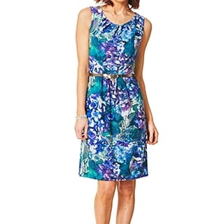 Connected Apparel NEW Blue Women's Size 10 Perforated Floral Dress